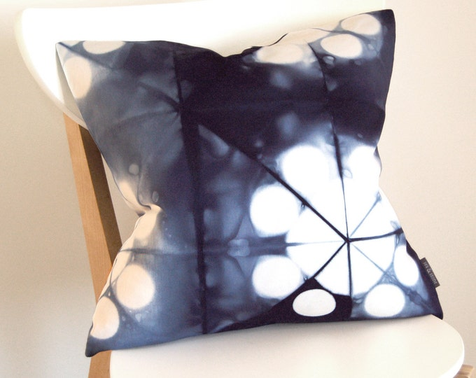 Tie Dye Navy Pillow Cover - Contemporary Tie-Dye - Marine