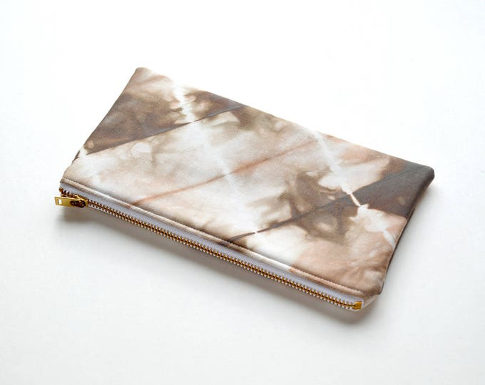 Shibori Pouch - Milk Chocolate Brown