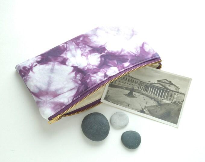 Shibori Pouch - Purple Clutch - Plum