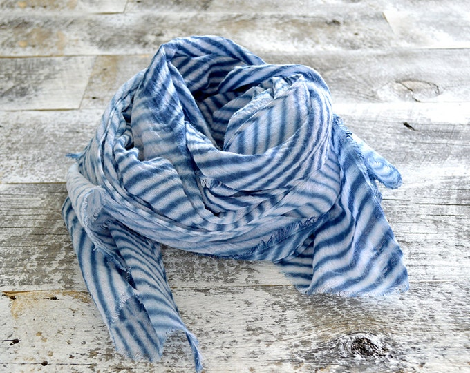 Navy Blue Shibori Scarf - Hand Dyed Cotton - 25 x 72 - Marine