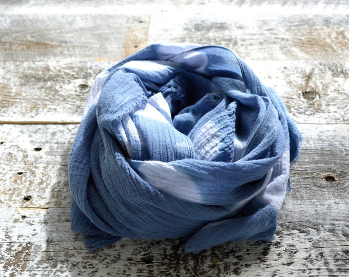 Denim Navy Blue Shibori Polka Dot Scarf
