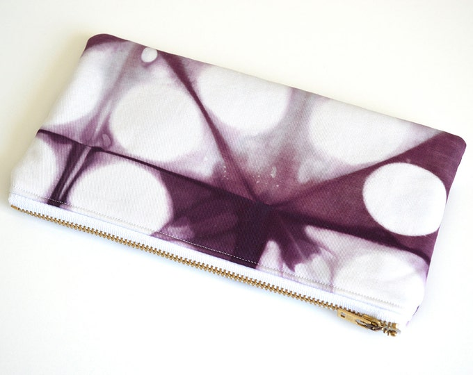 Shibori Pouch - Purple Pencil Case - Plum