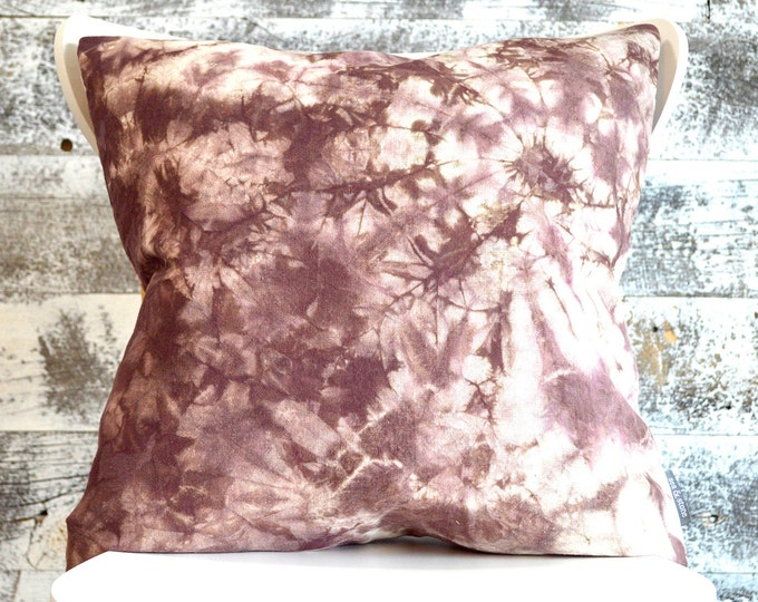 Rustic Tie-Dye Dyed Pillow Cover in Raisin