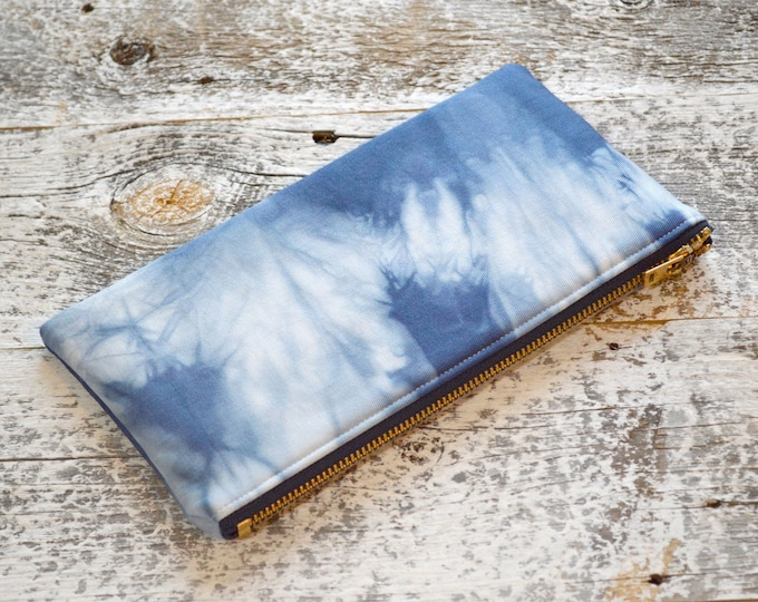 Marbled Shibori Pouch in Navy
