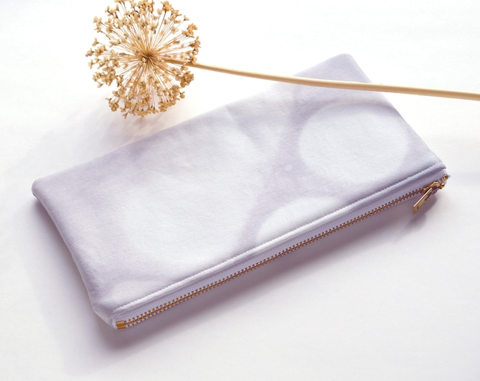 Shibori Dyed Pouch - Icicle - Pale Grey