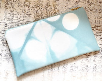 Hand Dyed Tie-Dye Pouch - Turquoise Clutch - Sea Glass