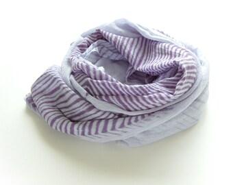 Purple Shibori Scarf - gauzy cotton summer scarf - Amethyst