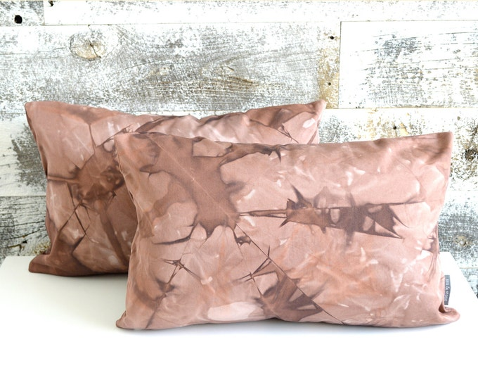 Two Burgundy Shibori Pillow Covers 12x18 inches - Marsala