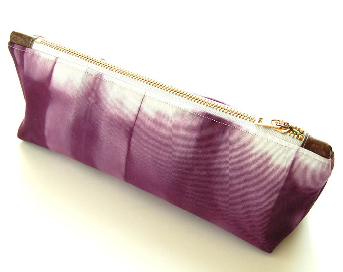 Tie Dye Purple Clutch - Contemporary Shibori  Clutch - Plum
