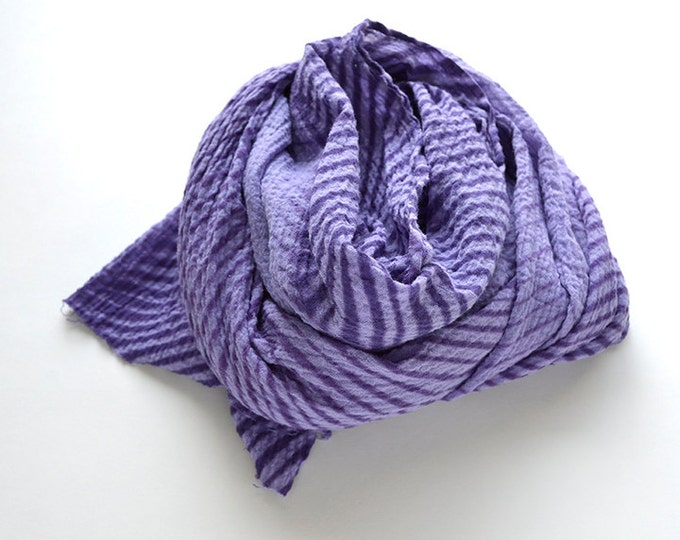 Purple Tie-Dye Scarf - gauzy cotton summer scarf - Amethyst