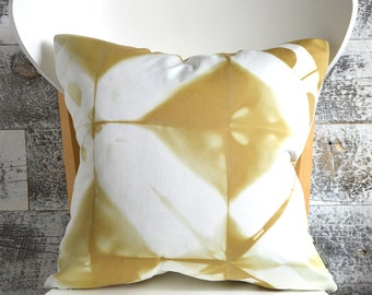 Shibori Pillow Cover 16x16 inches - Flax