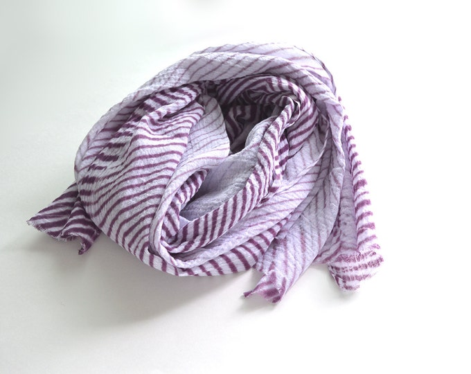 Purple Tie-Dye Scarf - breezy cotton summer scarf - Plum