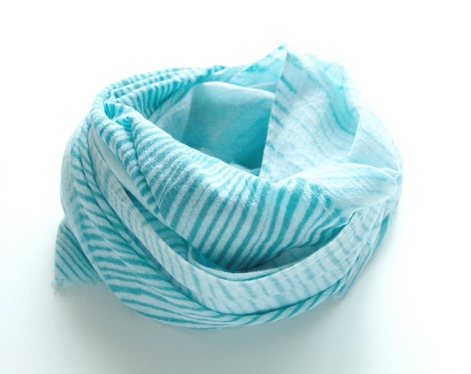 Turquoise Tie-Dye Scarf - gauzy cotton summer scarf - Sea Glass