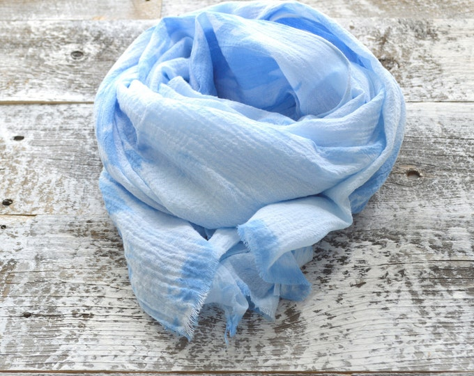 Sky Blue Tie-Dye Scarf - 25 x 68 inches