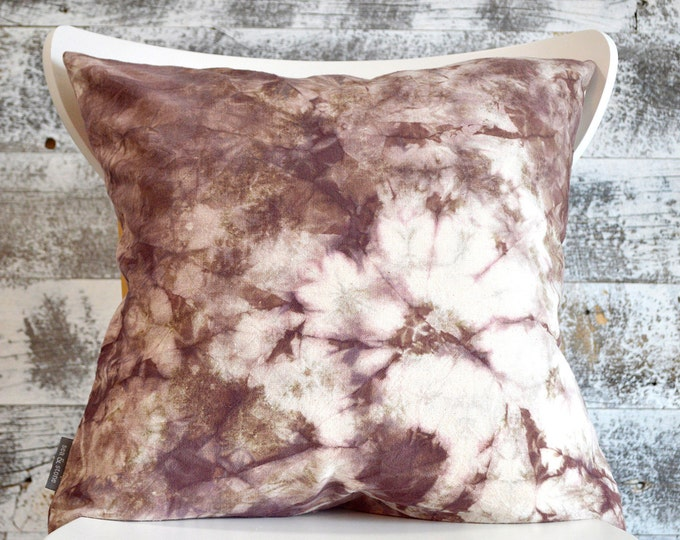 Shibori Dyed Pillow Cover in Raisin