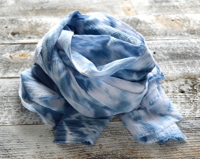 Marine Navy Blue Shibori Abstract Ikat Scarf