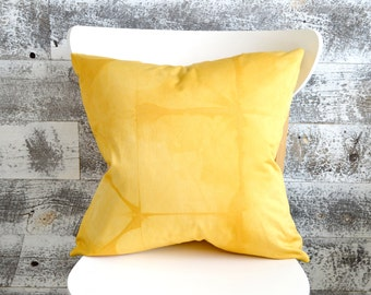 Goldenrod Yellow Shibori Pillow Cover 18x18 inches