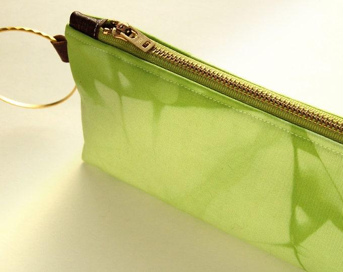 100% Organic Cotton Tie-Dye Clutch - Charteuse Shibori Wristlet Clutch