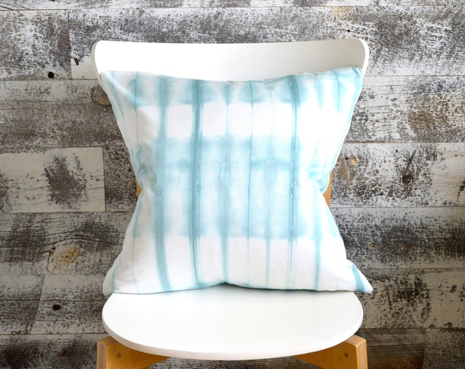 Pale Blue Tie-Dye Pillow Cover 18x18 inches - Pale Sea Glass