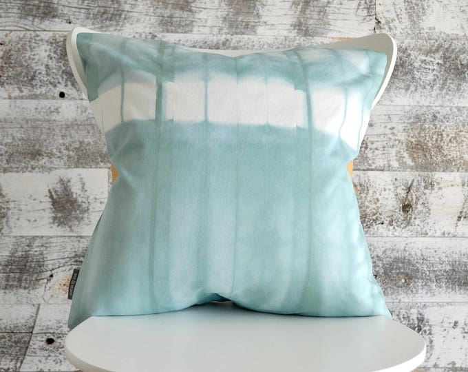 Blue Tie-Dye Pillow Cover 18x18 inches - Sea Glass