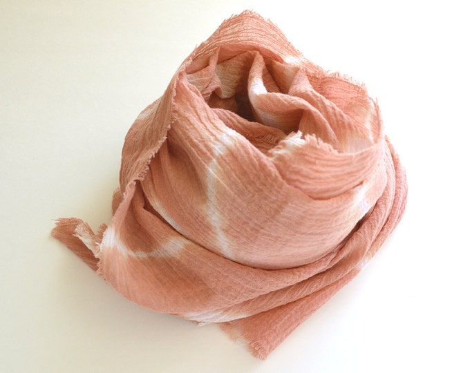 Peach Shibori Scarf - Weathered Terracotta - Shibori