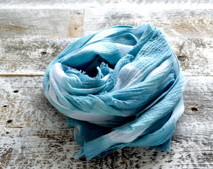 Sea Glass Scarf - Hand Dyed Cotton Shibori - 25 x 68 inches