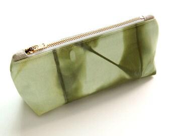 100% Organic Cotton Shibori Pouch - Green Shibori Pouch - Deep Moss
