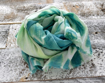 Kelly Green Shibori Scarf - 27.5 x 54 inches