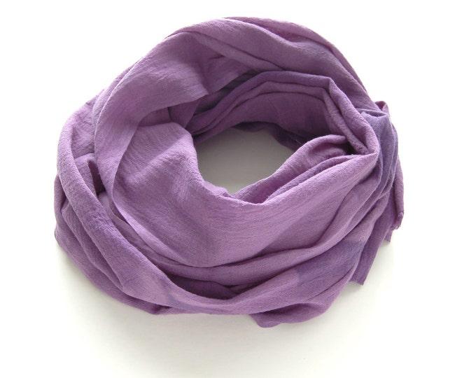 Purple Scarf - Hand Dyed Cotton Shibori - 25 x 68 inches - Amethyst