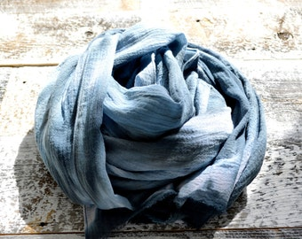 Grey Scarf - Hand Dyed Cotton Tie-Dye - 25 x 68 inches - Storm