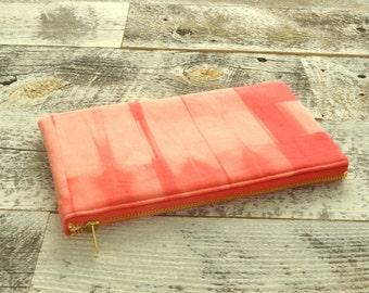Tie-Dye Pouch - Coral Clutch - Hand Dyed
