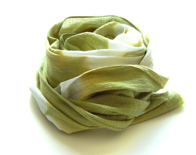 Tie Dye Moss Green Shibori Scarf - Hand Dyed Cotton - 12 x 64- Moss