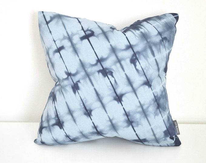 Navy Shibori Pillow Cover 16x16 inches - Marine