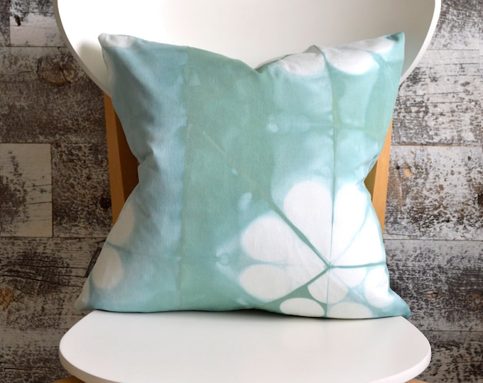 Blue Tie-Dye Pillow Cover 16x16 inches - Sea Glass