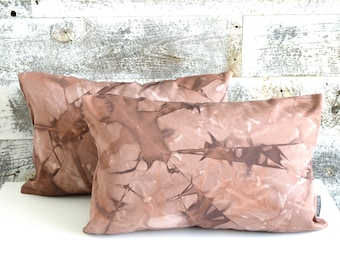 Two Burgundy Tie-Dye Pillow Covers 12x18 inches - Marsala