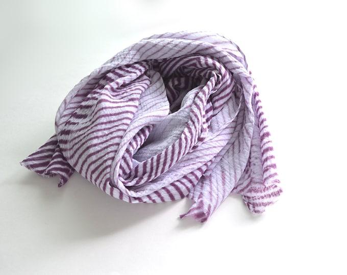 Purple Tie-Dye Scarf - breezy cotton summer scarf - Plum