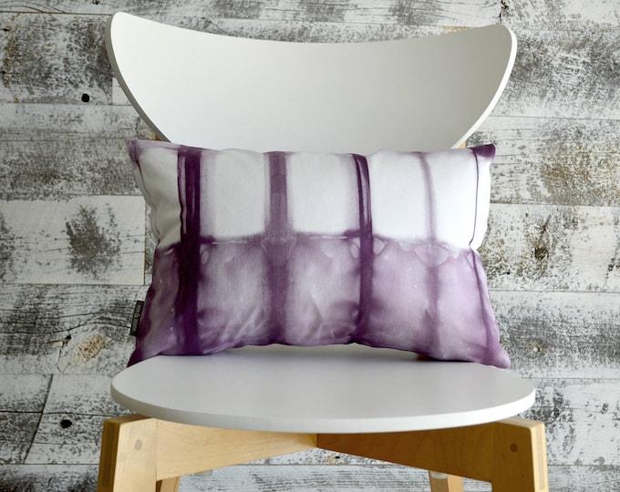 Tie Dye Shibori Pillow Cover 12x18 inches - Plum