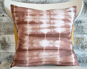 Rustic Shibori Dyed Pillow Cover in Rosewood