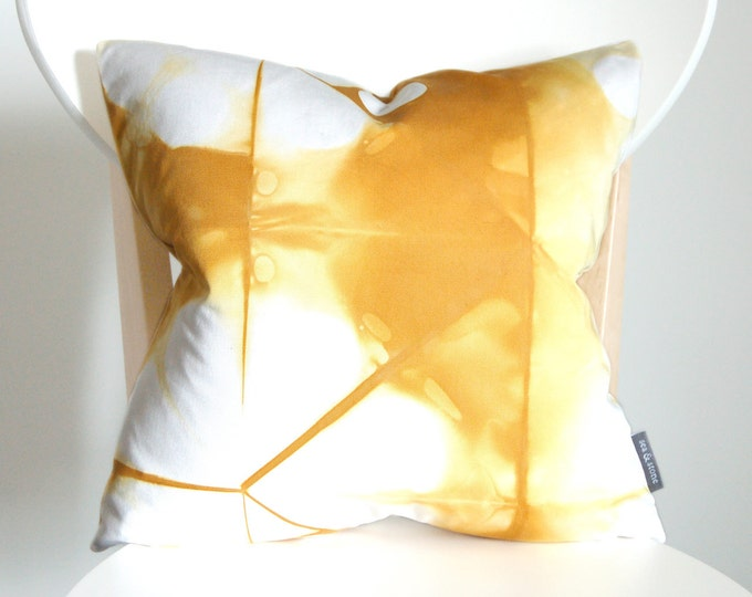 100% Organic Cotton Tie Dye Shibori Pillow Cover - 16 x 16 inches - Goldenrod