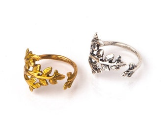 BRANCH RING. Gold or Silver Adjustable Branch Ring by AnnKat Designs