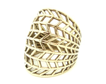CHEVRON RING. Silver or Gold Bohemian Ring by AnnKat Designs
