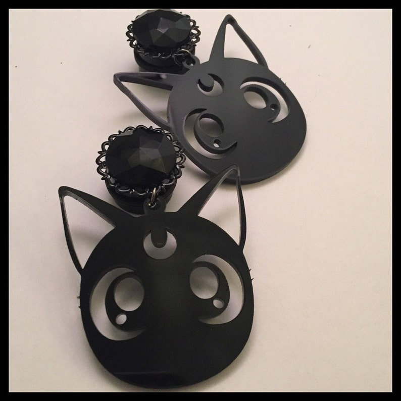 0G 00G 12 916 58 34 78 1 PICK SIZE Girly Ear Guages Dangle Plugs sailor Moon Laser Cut
