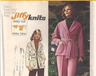 Stretch Knit Unlined Jacket With Shawl Collar And Pull On Pants Size 8 Sewing Pattern 1973 Jiffy Simplicity 5840