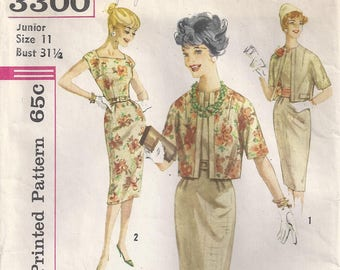 Dress With Square Neckline Short Kimono Sleeves Back Zipper Sheath Skirt Reversible Jacket Size 11 Vintage Sewing Pattern Simplicity 3300