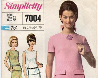 Slim Skirt Collarless Top With Lowered Round Neckline Back Button Closing Size 12 Used Sewing Pattern 1967 Designer Fashion Simplicity 7004
