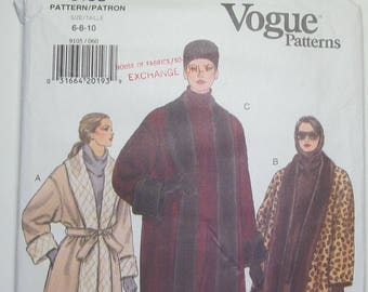 Loose Fitting Reversible A Line Wrap Coat Size 6 8 10 Sewing Pattern 1994 Vogue 9105