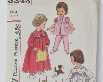 Pajama And Nightgown Top And Gown Gathered To Yoke Round Neckline Button Front Girl's Size 4 Used Vintage Sewing Pattern Simplicity 3243