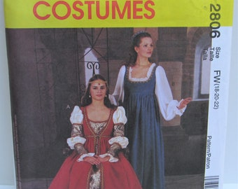 c9f03e2718d Renaissance Gown Medieval Dress Cosplay Elizabethan Historical Plus Size 18  20 22 Adult Costume Sewing Pattern McCall s 2806