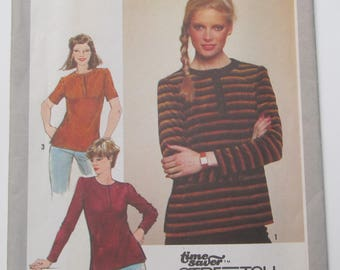 6c849995bb9 Stretch Knit Button Front Top Top Stitched Side Slits Front And Neck Bands  Size 8 10 12 Blouse Shirt Sewing Pattern 1980 Simplicity 9634