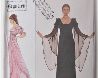 8d17e89c4c Pullover Dress Elastic Neckline Neck Ruffle Elastic Empire Waist Goth Prom  Gown Size 4 6 8 Sewing Pattern Begotten Simplicity 8619